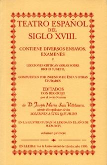 Teatro español del siglo XVIII.